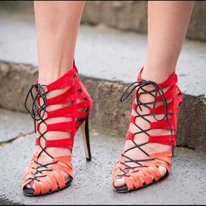 "Zara Collection ""Coral and Red Lace-up Sandals"